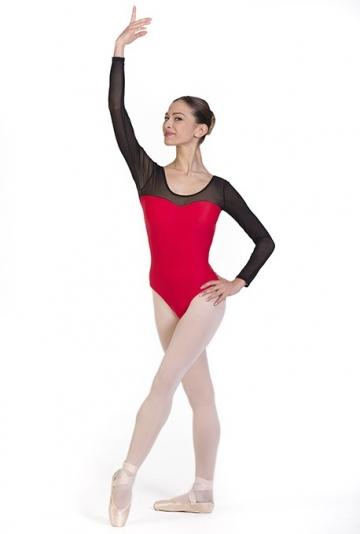 Body danza con maniche trasparenti -