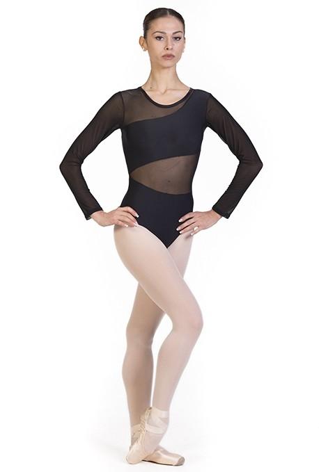 Body danza con intarsi trasparenti B7020 -