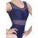 Body danza con inserti in microrete trasparente -