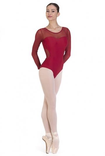 Body danza con intarsi in microrete -
