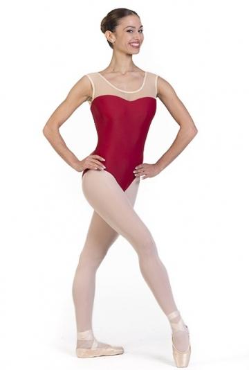 Body danza con scollatura trasparente -