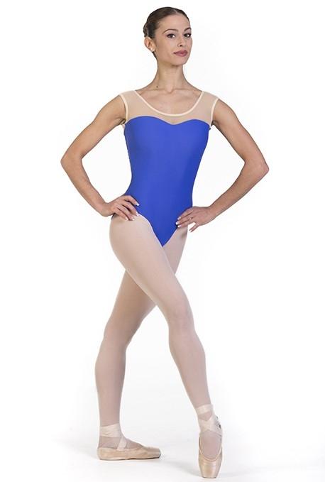 Body danza con scollo trasparente -
