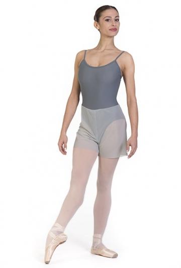 Body danza con pantaloncino trasparente -