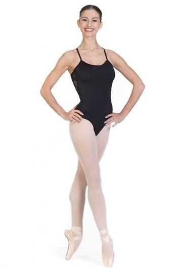 Body danza con scollatura in pizzo elastico -