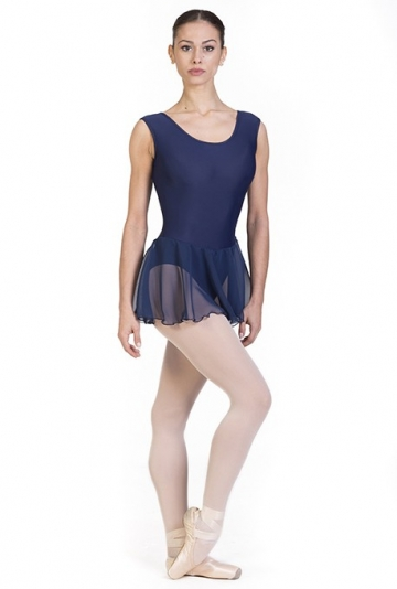 Body danza con gonna in chiffon semi trasparente -
