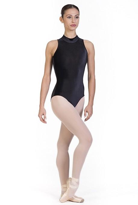Body danza con collo alto in velluto elasticizzato -